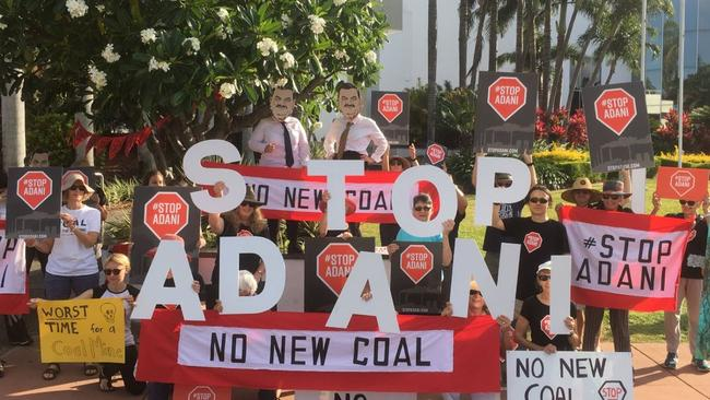 Not everyone is happy about Adani's big announcement. Picture: Stop Adani
