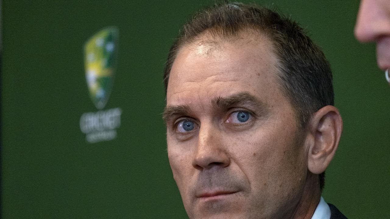 Justin Langer looks on during a media conference after he was named as head coach of the Australian men's cricket team
