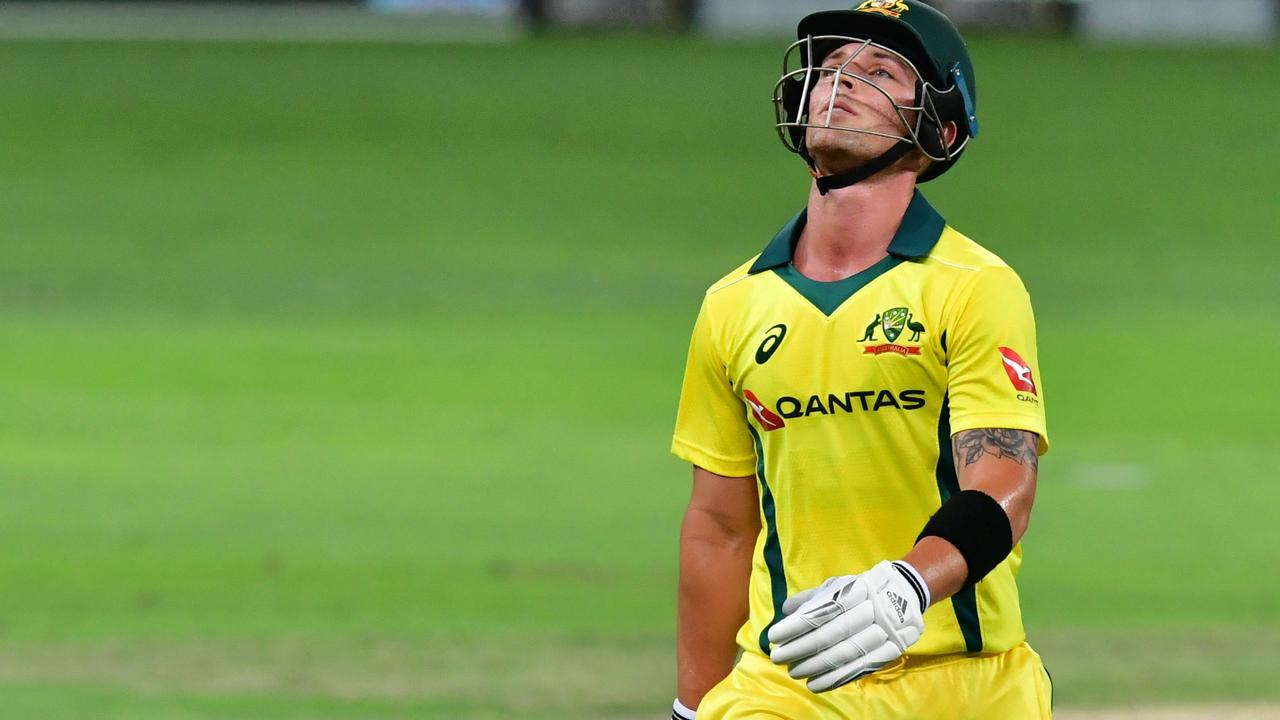 Australian cricketer Ben McDermott leaves the pitch as Australia was swept 3-0 in the T20 series.