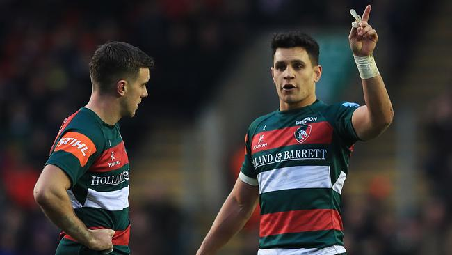 George Ford and Matt Toomua of Leicester Tigers talk during a Premiership match.