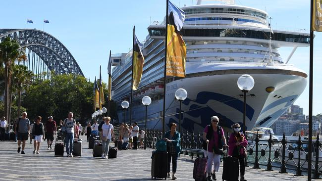 Passengers disembark from the Ruby Princess cruise ship at Circular Quay in Sydney on Thursday. Picture: AAP