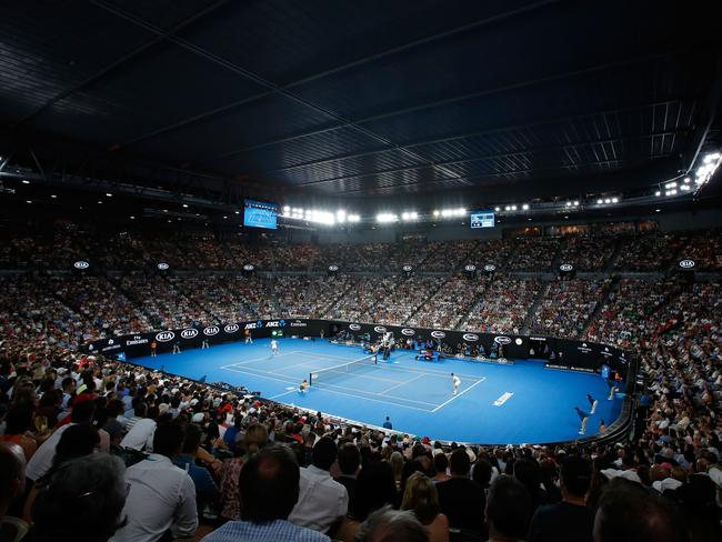 Action on Rod Laver Arena with the roof closed. (Photo by Scott Barbour/Getty Images)