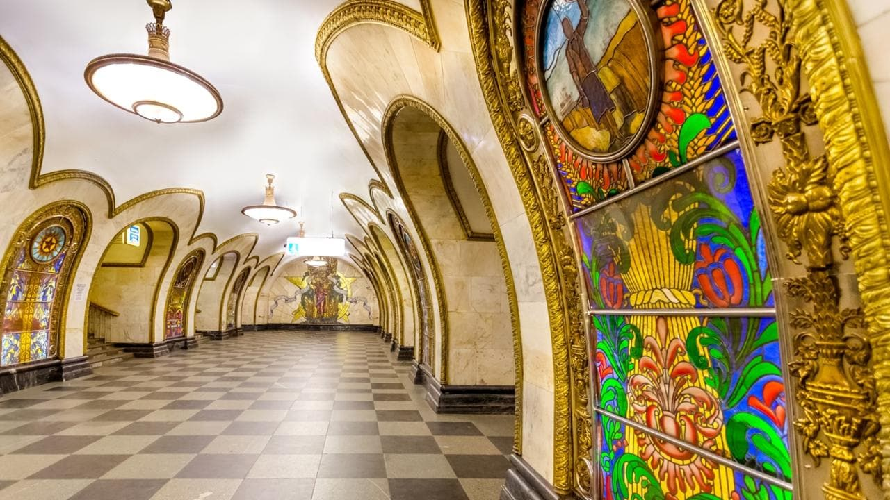 The Novoslobodskaya metro station in Moscow.