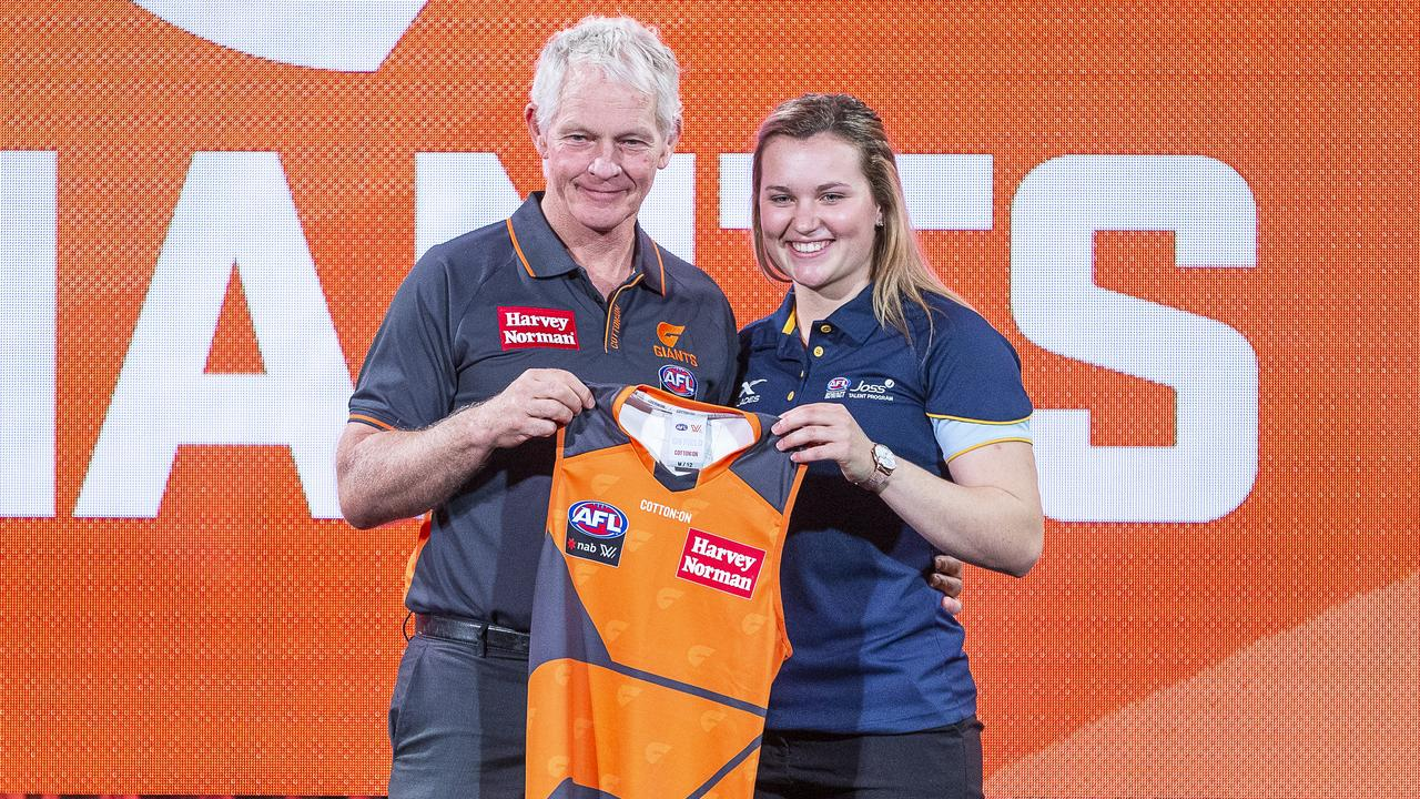Giants head coach Alan McConnell and number 12 pick Alyce Parker. Photo: Daniel Pockett/AAP Image.