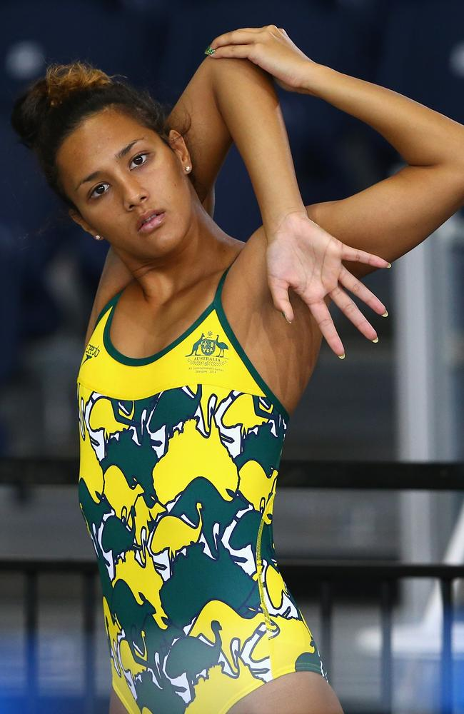 Kotuku Ngawati of Australia stretches out in the offending Commonwealth Games uniform.