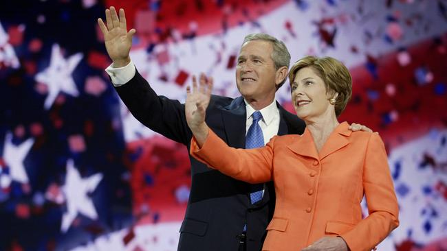 US President George W Bush and wife First Lady Laura after he accepted his party's nomination for second term in office.