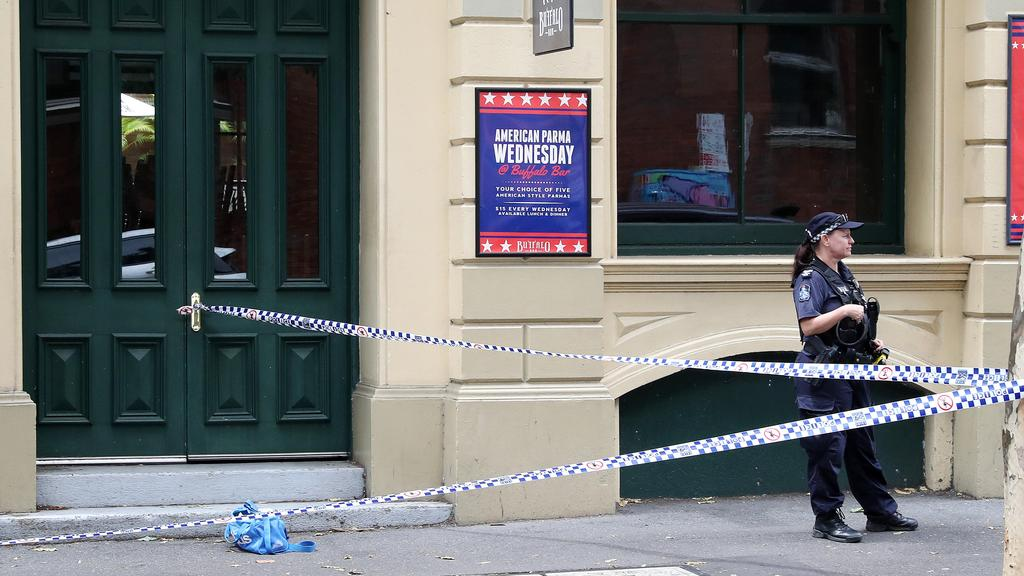 Numerous crime scenes have been set up across the Brisbane CBD after the fatal police shooting. Picture: Liam Kidston.