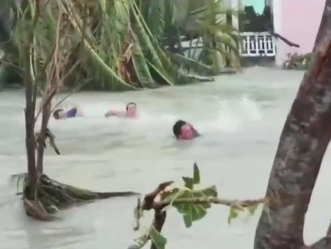 Bystanders were screaming at them to swim. Picture: ABC 10