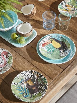 Dine outdoors in style with bright, patterned plates. Picture: Freedom