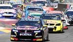 CLIPSAL 500 - SUNDAY - V8 racing in chicane. Jamie Whincup leads the field into the chicane. PIC SARAH REED.