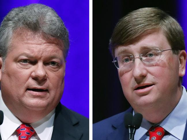 Democratic State Attorney-General Jim Hood, left, and Republican Lt. Gov. Tate Reeves of Mississippi. Picture: AP