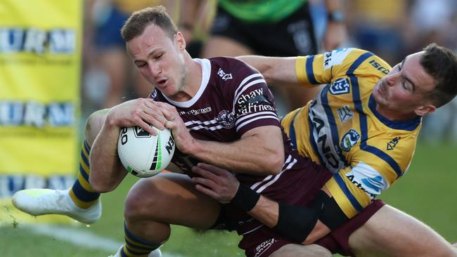 Manly captain Daly Cherry-Evans scores a try during the win over Parramatta.