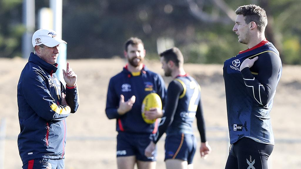 Crows coach Don Pyke talks to forward Josh Jenkins at training last week. Picture: SARAH REED
