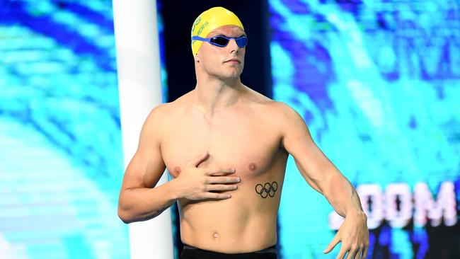 Kyle Chalmers of Australia looks on prior to the Men's 200m Freestyle Final