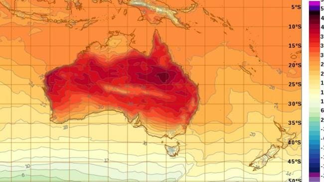 Temperatures could reach into the forties in the west of both Sydney and Brisbane. Picture: Bureau of Meteorology.