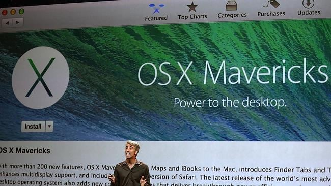 Apple Senior Vice President of Software Engineering Craig Federighi speaks during an Apple announcement in San Francisco, California. Picture: Getty