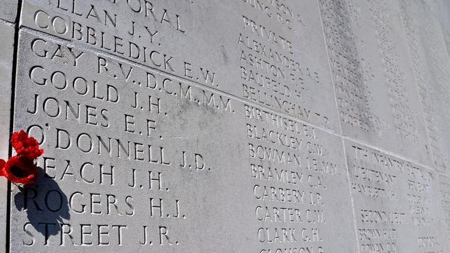 Names paying tribute to fallen soldiers at the Sir John Monash Centre.