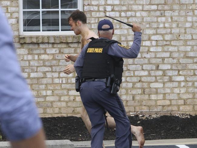 State Police chase and apprehend Matthew Thomas Bernard.