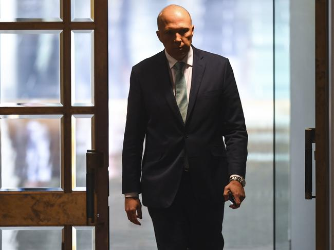 On the hunt … Peter Dutton enters the lower house. Picture: AAP Image/Lukas Coch