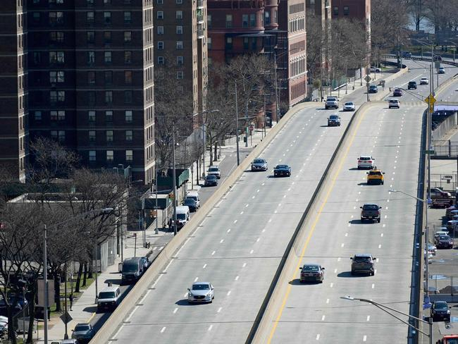 Traffic on New York's FDR Drive is usually bumper to bumper but on Tuesday morning it was virtually empty. Picture: AFP