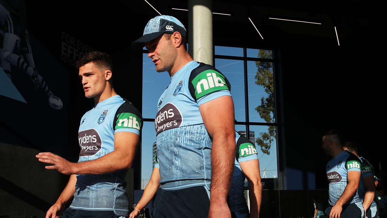 Nathan Cleary and Boyd Cordner have a chat during the NSW Blues training at NSWRL Centre of Excellence, Homebush. Picture. Phil Hillyard
