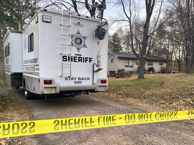 A sheriff's vehicle parked outside the home where James Closs and Denise Closs were found fatally shot on October 15. Picture: AP Photo/Jeff Baenen