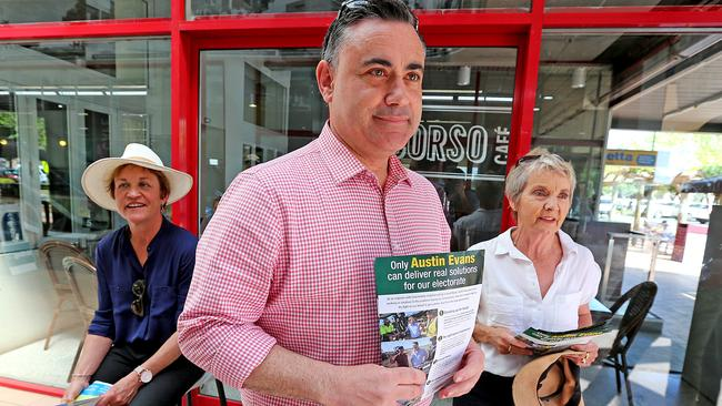 NSW Deputy Premier and NSW Nationals Leader John Barilaro has to rebuild trust in his party. SFF's Helen Dalton (left) is right behind him in this picture but not with his task ahead. Picture: Nathan Edwards