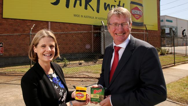 In January 2017, Mondelez sold Vegemite and other Kraft brands to Bega, but not the Kraft name. Mondelez Australia CEO Amanda Banfield with Bega Cheese CEO Barry Irvin at the Vegemite and peanut butter factory in Melbourne. Picture: Stuart McEvoy