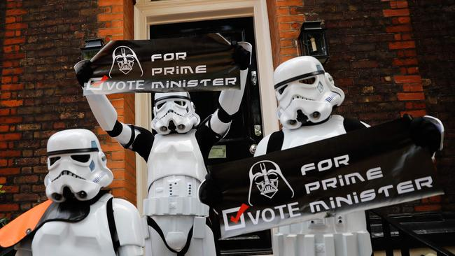 Not everyone is happy about the idea of Johnson in the top job. Storm Troopers from Star Wars held signs on the steps of Johnson's campaign office.