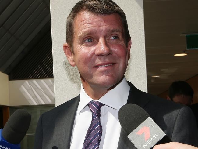 Former NSW Premier Mike Baird announced policies specifically for women but was never questioned over not being one. Picture: David Moir/AAP