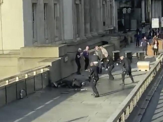 Police shoot and kill the London Bridge attacker. Picture: @HLOBlog via AP