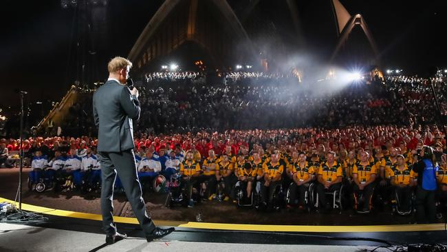 Prince Harry, Duke of Sussex, talking on stage during the Invictus Games Opening Ceremony. Picture: Chris Jackson/Getty Images for the Invictus Games Foundation.