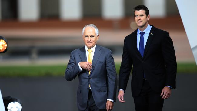 Ben Roberts-Smith (right) with Prime Minister Malcolm Turnbull at the 2016 Australian of the Year awards ceremony. Picture: Gary Ramage