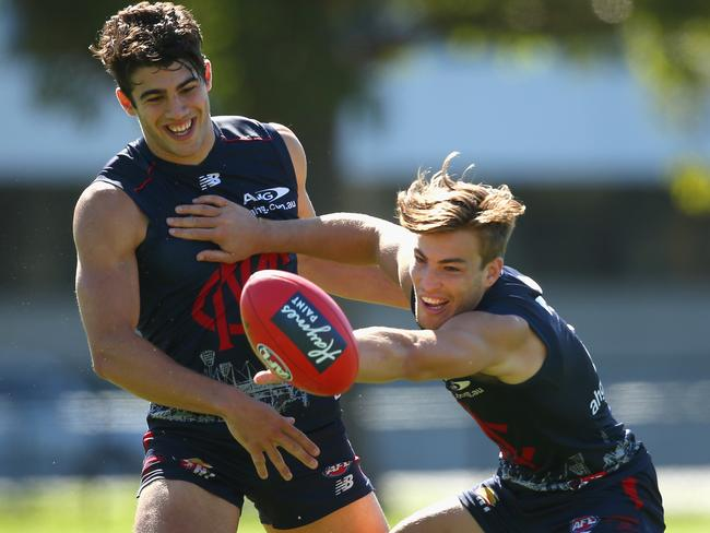 Jack Viney in training with teammate Christian Petracca.