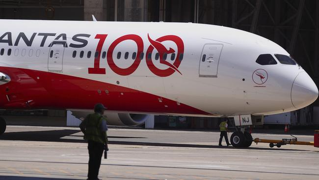 The Boeing 787-9 Dreamliner arrived in Sydney from London on Friday. Picture: James Morgan/Qantas via AP