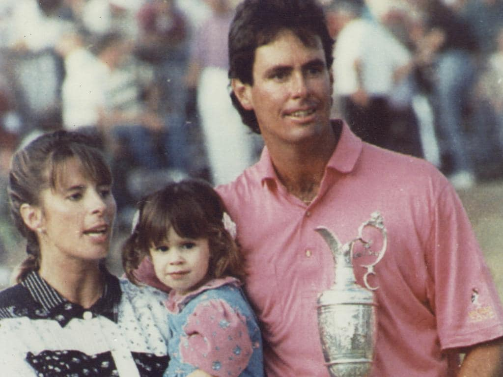 Baker-Finch with his family after winning the 1991 Open.