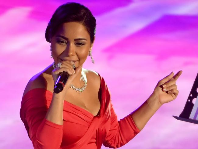 Egyptian singer Sherine Abdel Wahab has been sentenced to six months' prison for making a joke about the Nile. Picture: AFP/Fethi Belaid