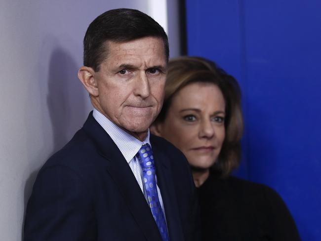 National Security Adviser Michael Flynn stands with K.T. McFarland, deputy national security adviser, yesterday. Picture: AP