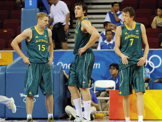 Shawn Redhage, Andrew Bogut and Joe Ingles at the Beijing Olympics.