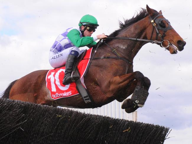 I'll'ava'alf wins the 2016 Crisp Steeplechase at Sandown. Picture: Vince Caligiuri/Getty Images