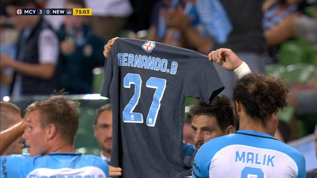 Bruno Fornaroli celebrated by paying tribute to injured teammate Fernando Brandan.