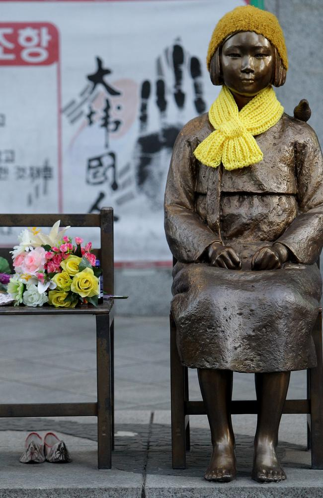 "Changing times ... a statue of a girl symbolising the issue of ""comfort women"". Picture: Chung Sung-Jun/Getty"