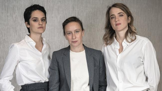 Sciamma (centre) with her leads Noemie Merlant and Adele Haenel. Picture: Christopher Smith/Invision/AP