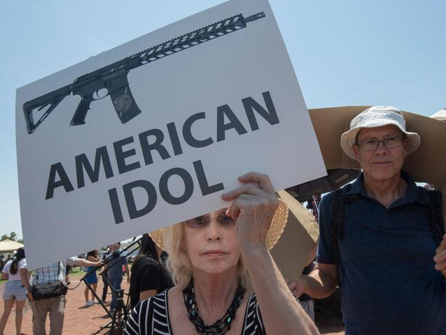 El Paso residents protest against the visit of US President Donald Trump to the city after the Walmart shooting that left a total of 22 people dead.