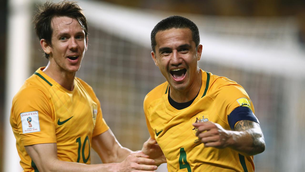 Tim Cahill of Australia celebrates scoring a goal during the World Cup Qualification match between the Socceroos and Jordan.