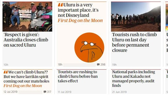 Some of The Guardian's coverage surrounding the Uluru closure.
