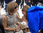 Cara Delevingne kisses Vogue chief editor Anna Wintour's hand afterChanel's Spring/Summer 2016 women's ready-to-wear show during Paris Fashion Week. Picture: AP