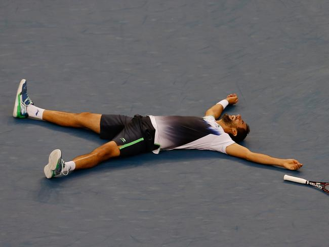 Relief as Marin Cilic breaks through for his maiden grand slam title.