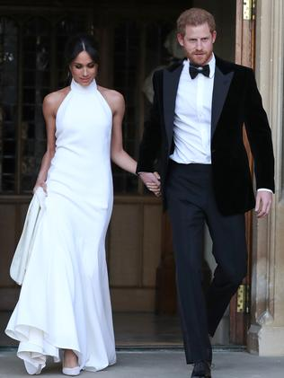 The newlyweds head to the evening reception. Picture: MEGA