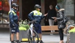 Police patrols George st in the city during the Coronavirus outbreak .picture John Grainger